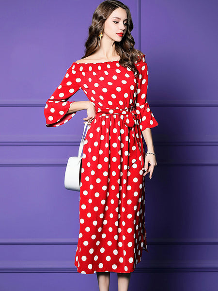 Holiday Off-The-Shoulder Polka Dot Sashes Maxi Dress
