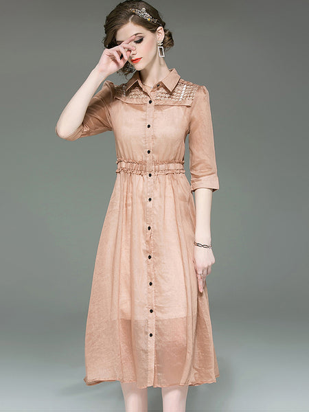 Simple Hollow Out Turn-Down Collar Single Breasted Shirt Dress