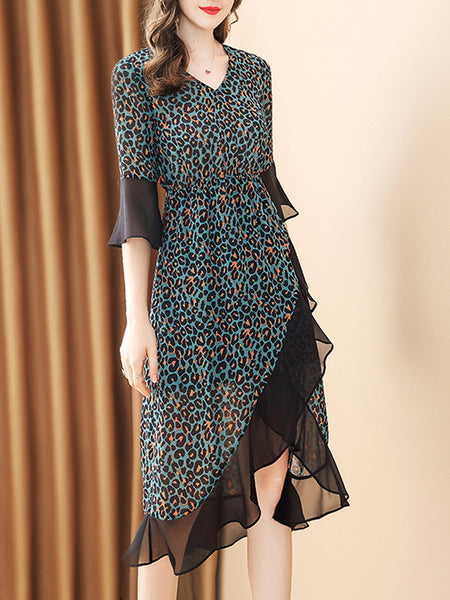 Leopard V-Neck Flare Sleeve Asymmetric Collect Waist Skater Dress