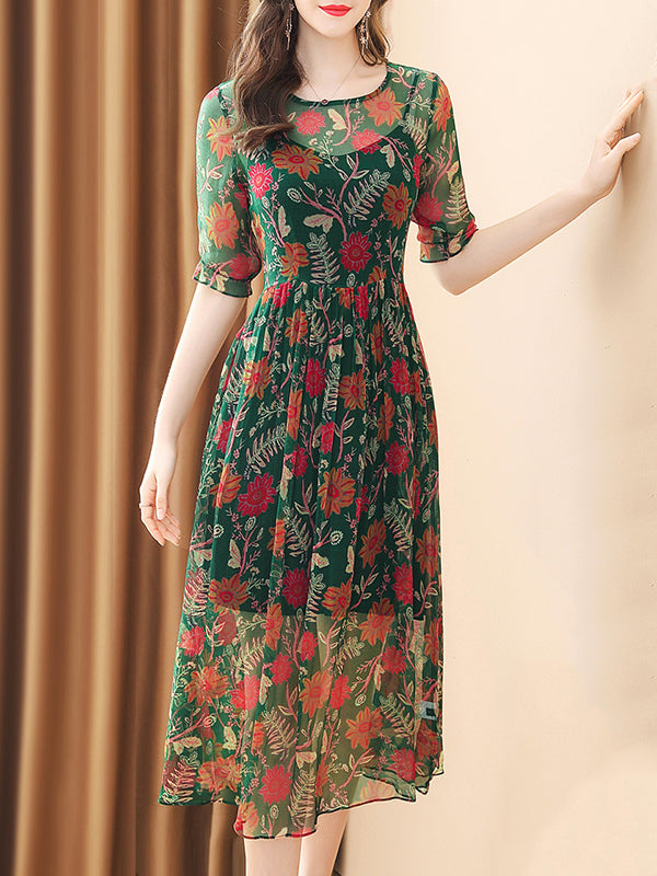 Sweet O-Neck Hit Color Print Scallop Hem Skater Dress