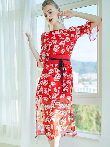 Chic Sashes Lotus Sleeves Silk Print Red A-Line Dress