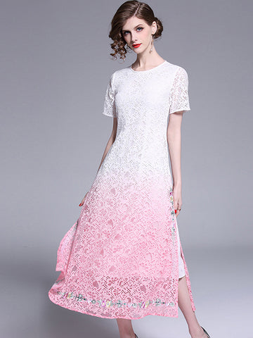 Elegant Lace Embroidery O-Neck Slim A-Line Dress