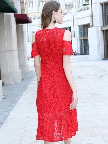 Stylish Lace Off-The-Shoulder Flowy and flatering Bodycon Dress