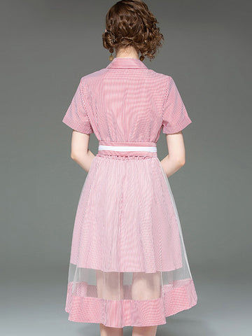 Lovely Turn-Down Collar Stripe Stitching Skirt Type A-Line Dress