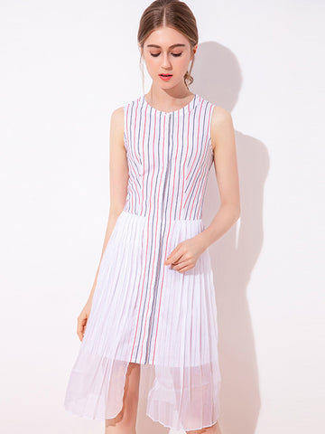 Sweet Striped  Sleeveless Stitching Single Breasted Skater Dress