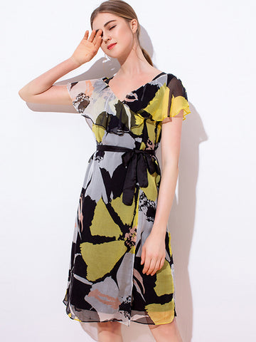 Casual Falbala Sashes Digital printed Slim A-Line Dress