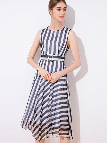 Brief Collect Waist Chiffon Stripe  Sleeveless Maxi Dress