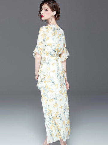 Suave V-Neck Lotus Sleeves Petal Chiffon Big Hem Maxi Dress