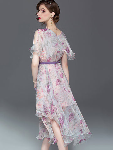 Holiday Asymmetric Floral-Print  Flowy and flatering Maxi Dress