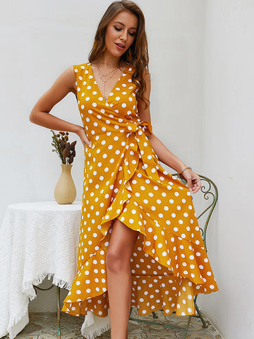 Holiday Polka Dot Sleeveless Ruffled Sashes Skater Dress