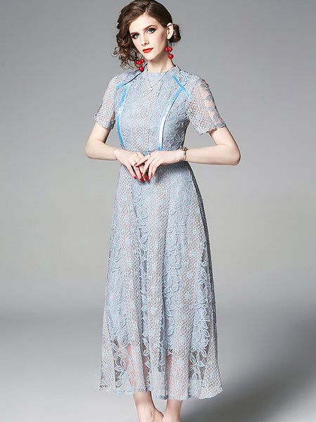 Elegant Stand Collar Flowers HollowOut Lace Solid Color Skater Dress