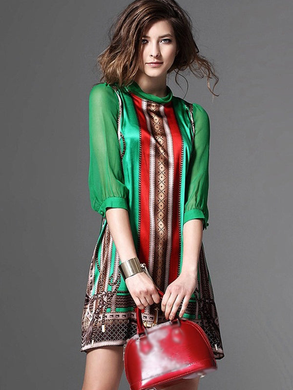 Elegant Stripe Print 3/4 Sleeve Color-block Fit & Flare Dress