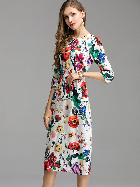 Elegant 3/4 Sleeve Floral-Print O-Neck Skater Dress