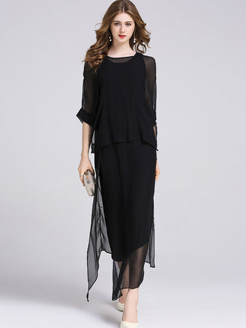 Work Vest Cape Two Pieces Irregular Solid Color Maxi Dress