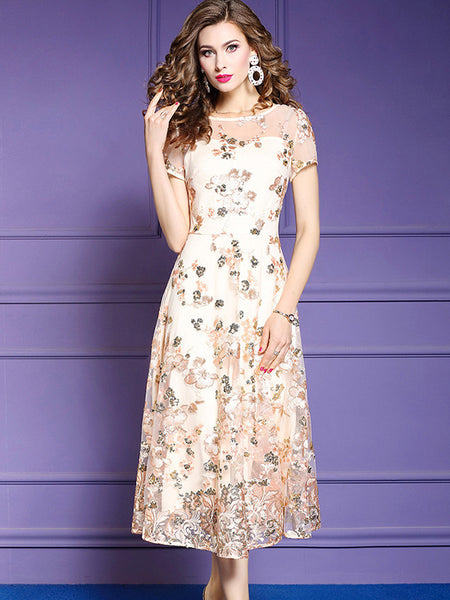 Party Embroidery Mesh Stitching Print Big Hem Maxi Dress