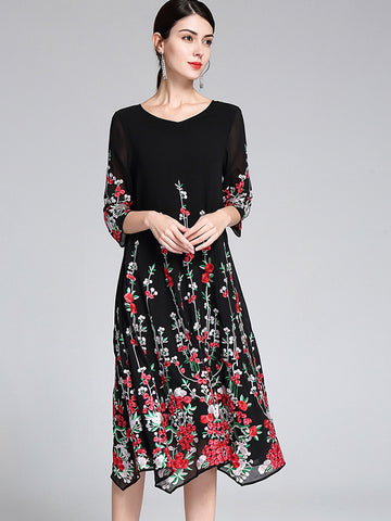 Elegant Three-Dimensional Embroidery Loose A-Line Dress(Black Dress Without Flowers In The Sleeves)