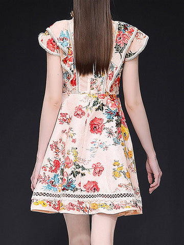 Sweet Ruffled Water Soluble Flower Print Fit & Flare Dress