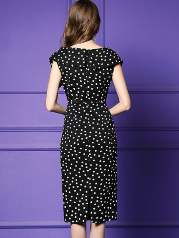 Sexy Polka Dot Sashes Stitching High Waist Bodycon Dress