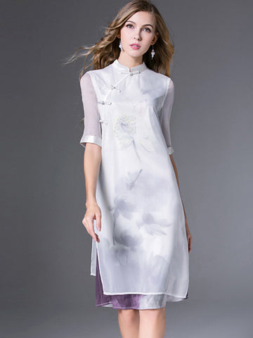 Chinoiserie Modified Cheongsam Irregular Silk  Shift Dress