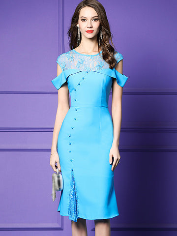 Elegant Embroidery Bead Strapless Fishtail Bodycon Dress