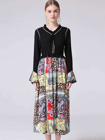 Elegant Color-block  Long Puff Sleeve  Maxi Dress