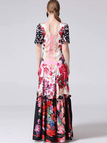 Folk Multicolor Print Fishtail Stitching  Maxi Dress