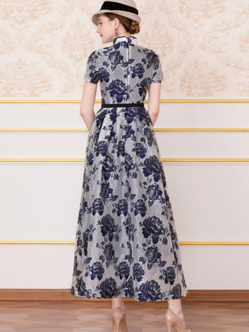 Chinoiserie Jacquard Cheongsam Stand Collar  Maxi Dress