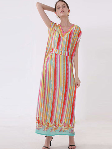 Casual Stripe Contrast Color Plaid Loose Maxi Dress
