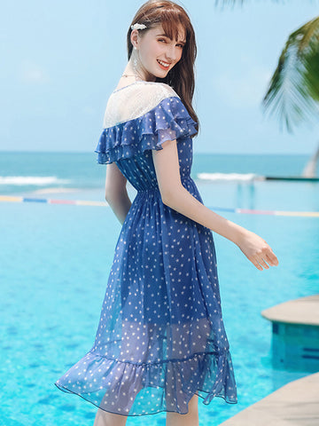 Lovely  Flounced Star Print Flowy and Flatering Skater Dress