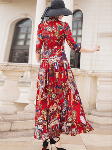 Exquisite Chiffon Sashes High Waist  Big Hem Maxi Dress