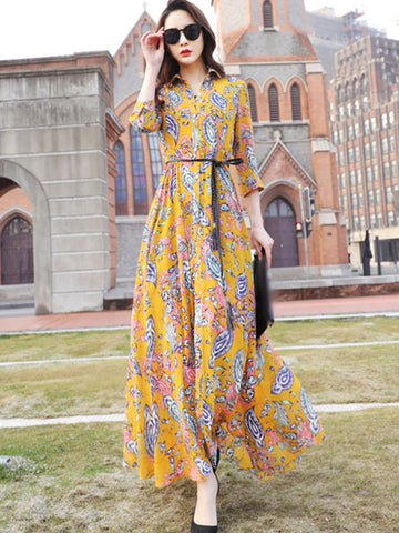 Elegant Sashes Turn-Down Collar Floral Print Maxi Dress