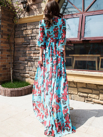 Brief Color-block Floral Print Beach Maxi Dress