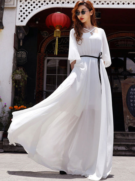 Street Falbala Lace-Collared Collect Waist Big Hem Maxi Dress