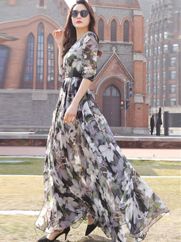 Holiday Sashes Asymmetric Vent Floral  Print Maxi Dress