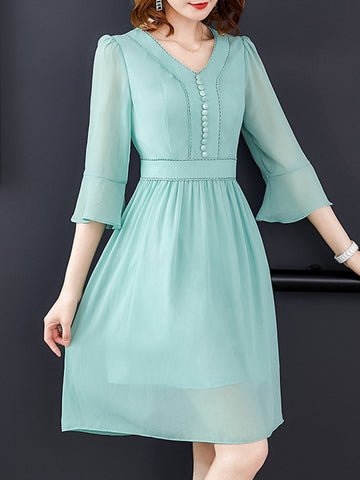 Suave Flare Sleeve Button Solid Color A-Line Dress