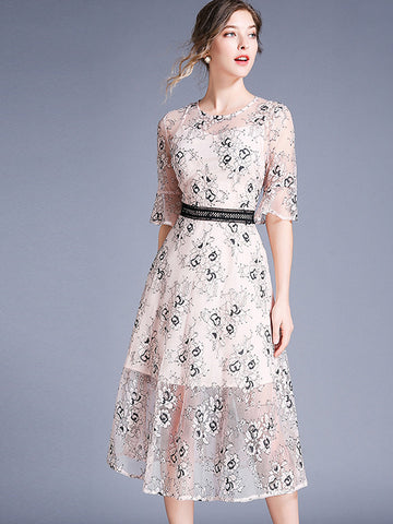 Suave Flare Sleeve Embroidery Lace A-Line Dress