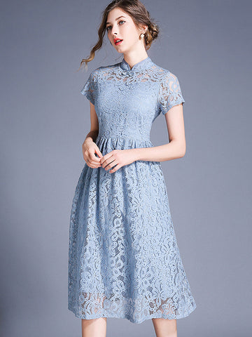 Delicate Stand Collar Solid Color Skater Dress