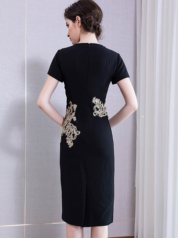 Elegant Bead Embroidery Solid Color Bodycon Dress
