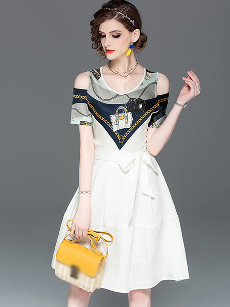 Stylish Stitching Bowknot Sashes Fit & Flare Dress