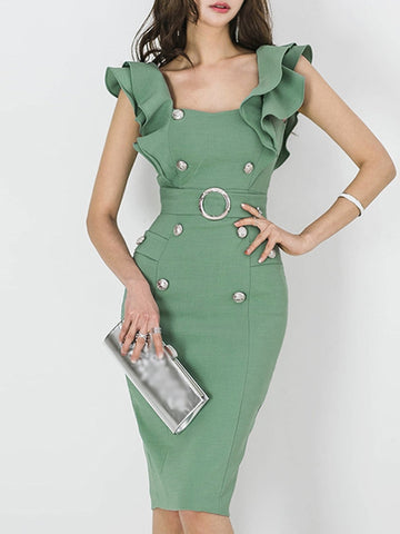 Stylish Sashes Button Puff Sleeve Bodycon Dress