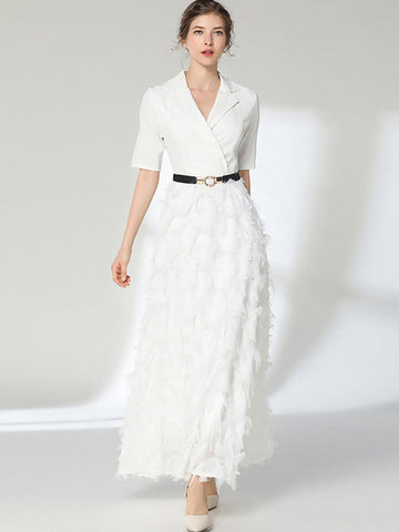 Party Fringed Sashes Ruffled Slim Maxi Dress