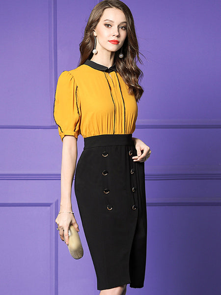 Work Turn-Down Collar Button Slim Bodycon Dress