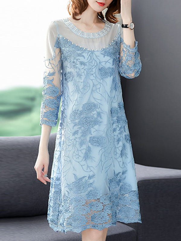 Elegant Embroidery Perspective Mesh Shift Dress