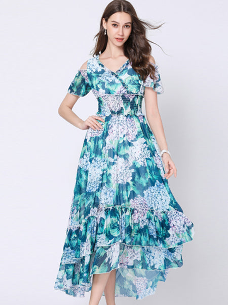 Suave Asymmetric Off  Shoulder  Lotus Sleeves Maxi Dress