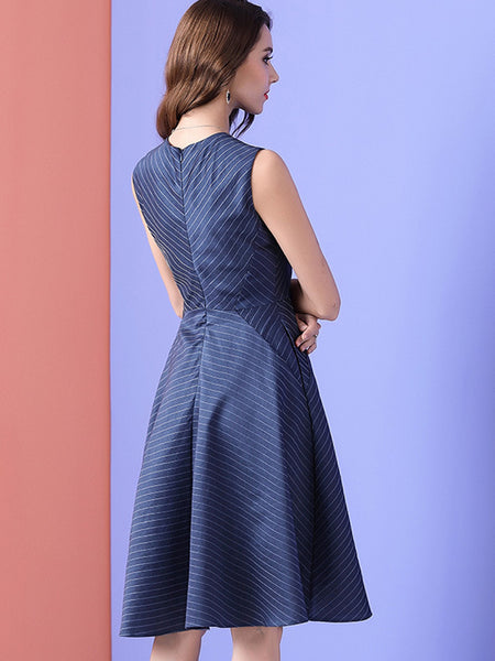Elegant Stripe Gathered Waist Slim Fit & Flare Dress