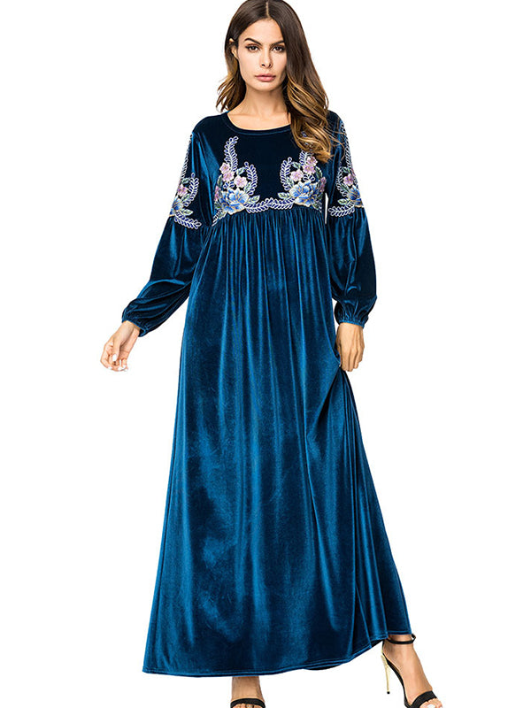 Casual Hand Embroidery Loose Big Hem Maxi Dress