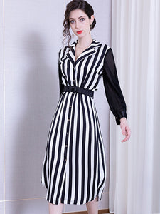 Work Stripe Single Breasted Sashes Irregular A-Line Dress