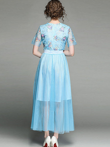 Delicate Embroidery Mesh Perspective Stitching Maxi Dress