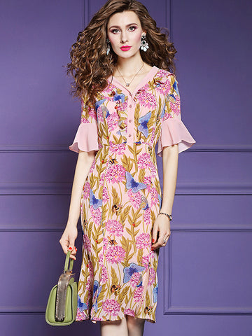 Elegant Floral Pattern Lotus Sleeves Slim A-Line Dress