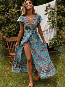 Bohemian Deep V-Neck Sashes Print Big Hem Beach Dress